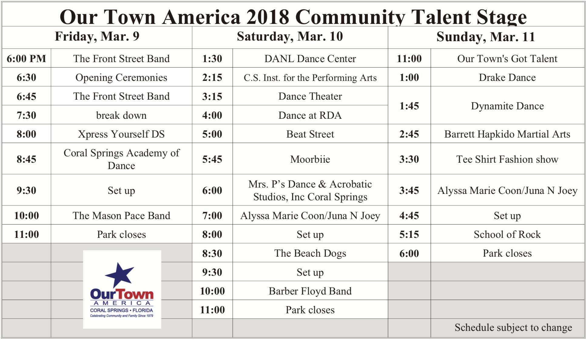 Community Talent Stage Schedule 2018